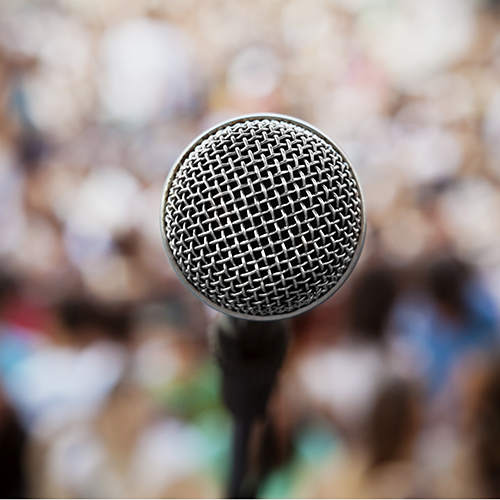 Image of a microphone at a podium
